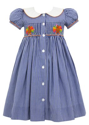Claire & Charlie Girls Navy Check Crochet Thanksgiving Turkey Dress - On the Back Too!