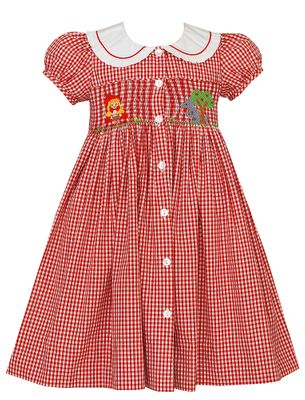 Claire & Charlie Girls Red Check Smocked Little Red Riding Hood Dress - Front & Back!