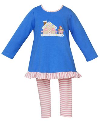 Claire & Charlie Girls Periwinkle Blue Gingerbread House with Pink Stripe Leggings