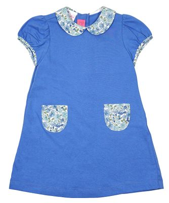Claire & Charlie Girls Periwinkle Blue Knit Float Dress - Floral Collar & Pockets