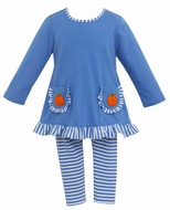 Claire & Charlie Girls Periwinkle Blue Crochet Pumpkin Pockets Tunic with Striped Leggings