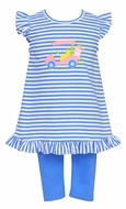 Claire & Charlie Girls Periwinkle Blue Stripe Golf Cart Tunic with Leggings