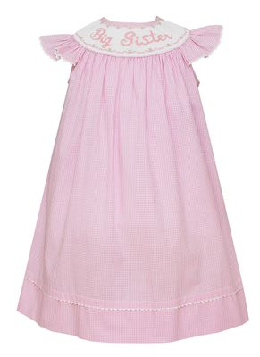 Claire & Charlie Girls Pink Check Dress - Smocked Big Sister