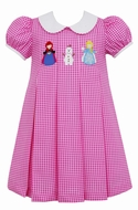 Claire & Charlie Girls Pink Check Frozen Ice Princess Elsa Pleat Dress with Collar