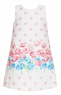Claire & Charlie  Girls Pink Dots / Blue Floral Sleeveless Shift Dress