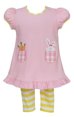Claire & Charlie Girls Pink Easter Bunny Tunic with Yellow Stripe Leggings