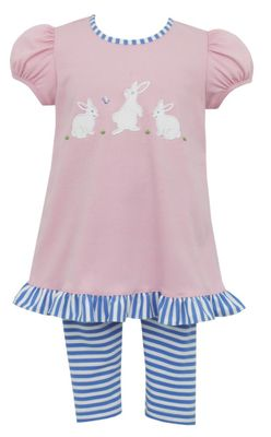 Claire & Charlie Girls Pink Easter Bunny Tunic with Blue Striped Leggings