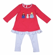 Claire & Charlie Girls Pink Frozen Ice Princess Elsa Tunic with Striped Leggings