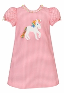 Claire & Charlie Girls Pink Gingham Seersucker Unicorn Dress