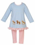 Claire & Charlie Girls Pink Leggings with Blue Striped Horse Tunic