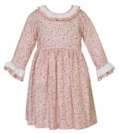 Claire & Charlie Girls Pink Liberty Print Dress - Ruffle Sleeves