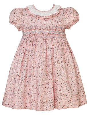 Claire & Charlie Girls Pink Liberty Print Smocked Dress - Ruffle Collar