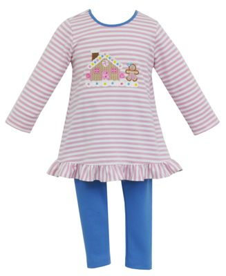 Claire & Charlie Girls Pink Stripe Gingerbread House Tunic with Blue Leggings