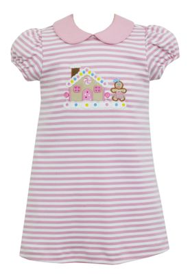 Claire & Charlie Girls Pink Stripe Knit Gingerbread House Dress