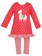 Claire & Charlie Girls Pink Stripe Leggings with Dots Llama Tunic