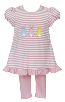Claire & Charlie Girls Pink Striped Easter Bunny Peeps Tunic with Leggings