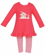 Claire & Charlie Girls Pink Striped Leggings and Tunic with Holiday Gingerbread House