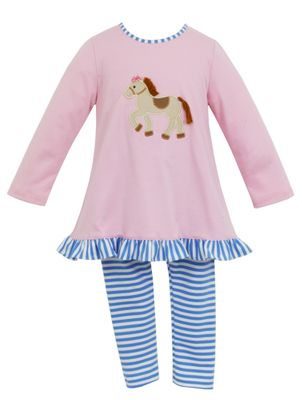 Claire & Charlie Girls Pink Tunic with Horse Applique and Blue Striped Leggings