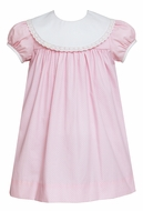 Claire & Charlie Girls Pink / White Dots Dress - White Eyelet Round Collar