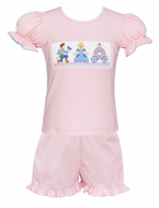 Claire & Charlie Girls Pink / White Dots Ruffle Shorts with Smocked Cinderella Top