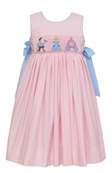 Claire & Charlie Girls Pink / White Dots Smocked Cinderella Dress with Bows