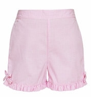 Claire & Charlie Girls Pull On Ruffle Shorts - Pink Check with Bows