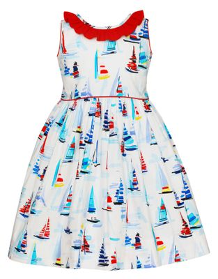 Claire & Charlie Girls Red / Blue Sailboat Dress - Red Ruffle Back
