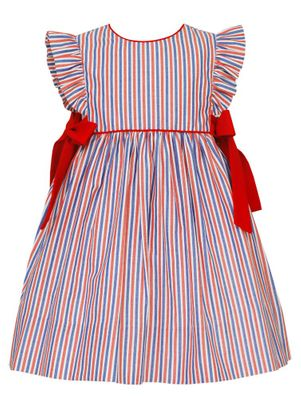 Claire & Charlie Girls Red / Blue Stripe Dress with Bows at Sides