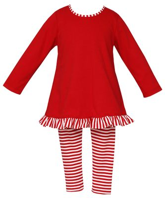 Claire & Charlie Girls Red Candy Cane Stripe Leggings with Tunic