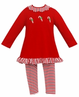 Claire & Charlie Girls Red Candy Canes Tunic with Striped Leggings