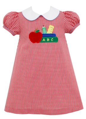 Claire & Charlie Girls Red Check Back to School Dress with Collar