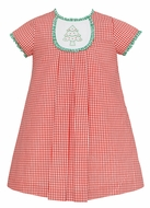 Claire & Charlie Girls Red Check Dress - Embroidered Christmas Tree on Tab with Ruffles - Short Sleeves