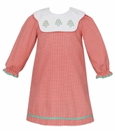 Claire & Charlie Girls Red Check Dress - Scallop Collar - Embroidery Christmas Trees - Long Sleeves