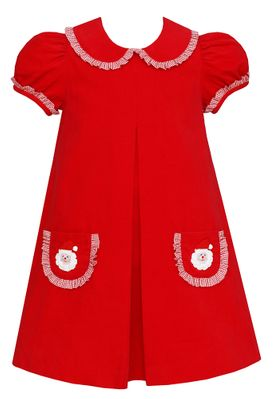 Claire & Charlie Girls Red Corduroy Dress with Collar - Crochet Santa Faces on Pockets