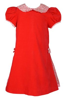 Claire & Charlie Girls Red Corduroy Dress with Red Floral Collar and Side Pleats