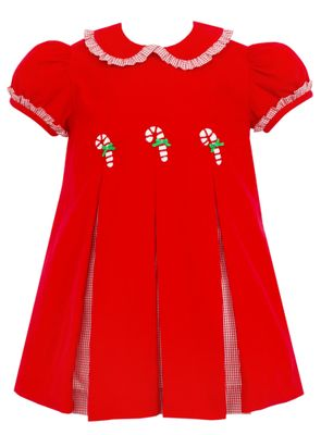 Claire & Charlie Girls Red Corduroy Candy Canes Dress with Contrast Pleats