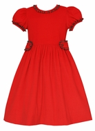 Claire & Charlie Girls Red Corduroy Dress - Ruffle Neckline - Plaid Trim