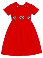 Claire & Charlie Girls Red Corduroy Dress - Scallop Collar - Holiday Plaid Sash