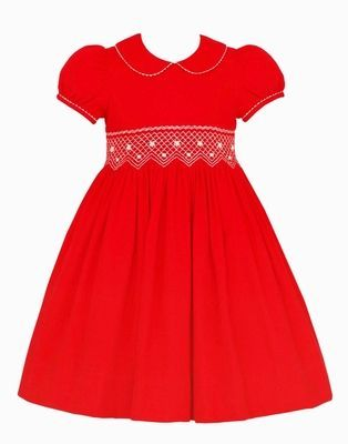 Claire & Charlie Girls Red Corduroy Smocked Christmas Dress with Collar