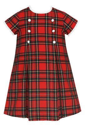 Claire & Charlie Girls Red Holiday Plaid Double Breasted Dress - Ruffle Neckline