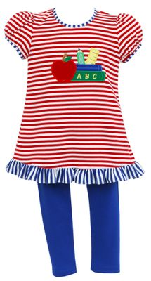 Claire & Charlie Girls Red Stripe Back to School Tunic with Royal Blue Leggings