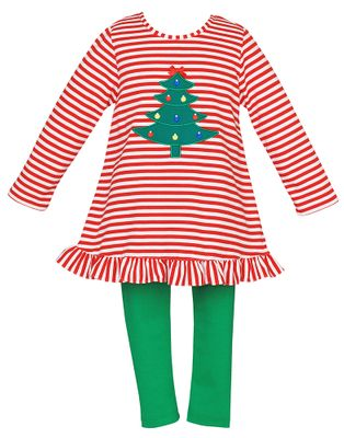 Claire & Charlie Girls Red Striped Christmas Tree Tunic with Green Leggings