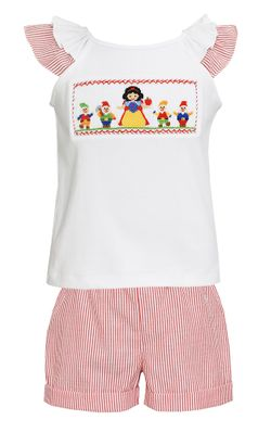 Claire & Charlie Girls Red Striped Ruffle Shorts with Smocked Snow White Top