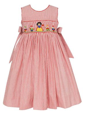 Claire & Charlie Girls Red Striped Smocked Snow White Dress with Bows