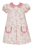 Claire & Charlie Girls Rose Pink Bird Toile Dress - Ruffle Collar & Pockets