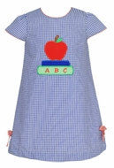 Claire & Charlie Girls Royal Blue Check Back to School Dress - Applique Red Apple