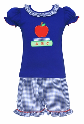 Claire & Charlie Girls Royal Blue Check Ruffle Shorts with Applique Apple Top