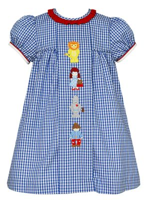 Claire & Charlie Girls Royal Blue Check Wizard of Oz Float Dress