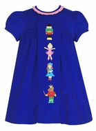 Claire & Charlie Girls Royal Blue Corduroy Float Dress - Nutcracker Ballet
