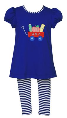 Claire & Charlie Girls Royal Blue Stripe Leggings with Back to School Top